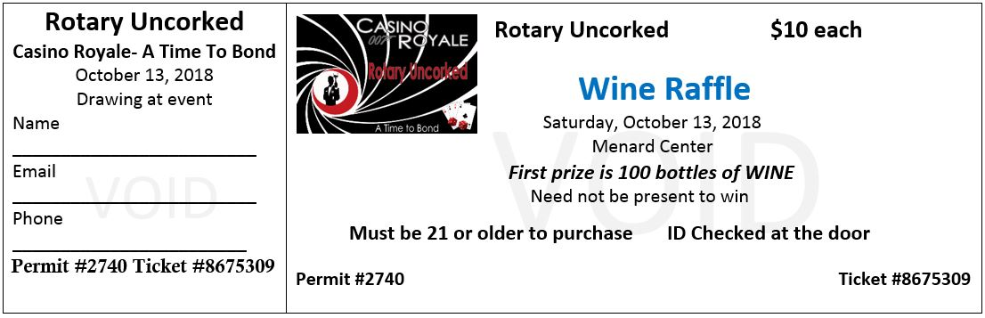 2018 Rotary Uncorked Raffle Ticket – Rotary Uncorked